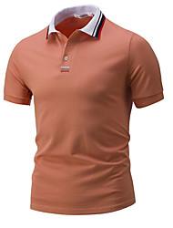 Недорогие -Муж. Повседневные Футболка Рубашечный воротник,На каждый день С принтом С короткими рукавами,Хлопок