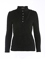 Women's Lace Casual/Daily Simple Fall Shirt,Solid Turtleneck Long Sleeve White / Black / Gray Polyester Medium