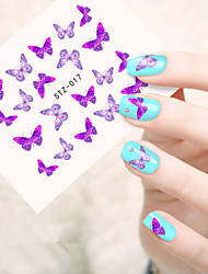cheap -5pcs/set Romantic Purple Butterfly Nail Art Water Transfer Decals Lovely Butterfly Design For Nail DIY Beauty STZ-017
