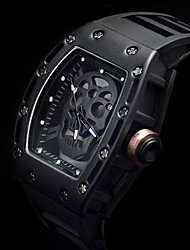 cheap -Men's Sport Watch / Skeleton Watch / Wrist Watch Creative / Noctilucent / Cool Silicone Band Luxury / Vintage / Casual Black / Stainless Steel / Two Years / Sony 377