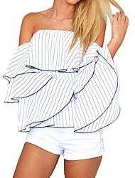 Недорогие -Жен. Рубашка С открытыми плечами Однотонный