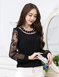 Sign new women's large size was thin lace stitching short paragraph long-sleeved chiffon shirt blouse female fashion