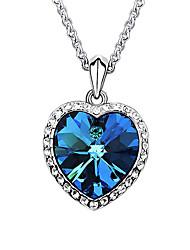economico -Per donna Cuori Amore Di tendenza Europeo Collane con ciondolo Cristallo Sapphire sintetico Placcato in platino Cristallo austriaco