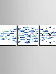 cheap -MINI SIZE E-HOME The Blue Fish Clock in Canvas 3pcs