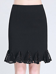 Women's Plus Size Trumpet/Mermaid Solid Lace Pleated Layered Skirts,Casual/Daily Work Sexy Cute High Rise Knee-length Zipper Polyester