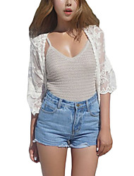Women's Off White Sheer Rose Lace Beach Cover Up
