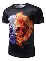 Masculino Camiseta Casual Activo Todas as Estações,Arco-Íris Poliéster Decote Redondo Manga Curta Média