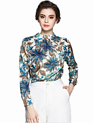 cheap -Women's Work Chinoiserie Blouse Print Crew Neck