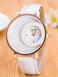 cheap -Women's Sport Watch Dress Watch Fashion Watch Wrist watch Simulated Diamond Watch Floating Crystal Watch Quartz Large Dial Genuine Leather