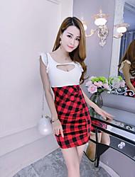 segno sexy vestito grande amore lu xiong plaid pacchetto rughe vestito dell'anca