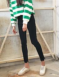 Sign minimalist fashion wave edge jeans trousers female feet pencil pants cultivating wild Nett