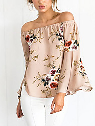 cheap -Women's Going out Vintage Sophisticated Cotton Blouse - Flower / Floral, Print Boat Neck