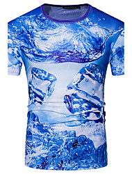 cheap -Men's Sports Street chic T-shirt - Geometric, Print Round Neck
