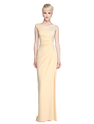 Sheath / Column Jewel Neck Floor Length Lace Jersey Bridesmaid Dress with Split Front Pleats by LAN TING BRIDE®