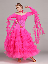 cheap -Ballroom Dance Dresses Women's Performance Tulle / Lycra Appliques / Ruffles / Crystals / Rhinestones Long Sleeve Natural Dress / Neckwear