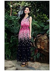 kirsebær chiffon vest splejsning sat på en stor talje nederdel kjole tilbud