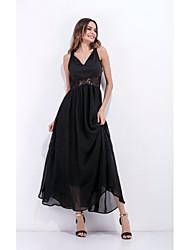 Знак внешней плесень aliexpress торговли слинг V-образным вырезом шифона платье пляж платье сшивание полых пятно