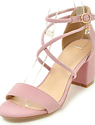 cheap -Women's Shoes Leatherette Spring / Summer Comfort / D'Orsay & Two-Piece Sandals Chunky Heel / Block Heel Open Toe Buckle / Lace-up Black / Gray / Pink / Party & Evening / Party & Evening