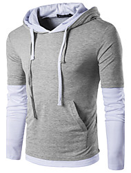 cheap -Men's Daily Sports Street chic T-shirt,Color Block Hooded Long Sleeves Polyester