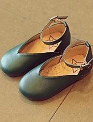 cheap -Girls' Loafers & Slip-Ons Comfort Leatherette Casual Comfort Flat Heel Gray Ruby Green Flat