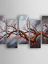 Hand-Painted  Flowers Set of 5 Canvas Oil Painting With Stretcher For Home Decoration Ready to Hang