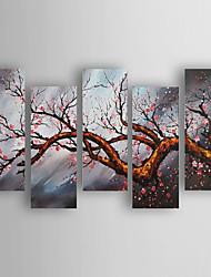 Peint à la main A fleurs/Botanique Horizontale,Moderne Cinq Panneaux Toile Peinture à l'huile Hang-peint For Décoration d'intérieur