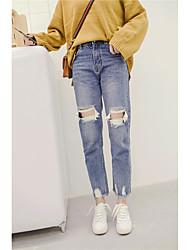 Sign 2017 Korean loose knee hole jeans skinny waist pantyhose irregular side edges