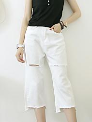 знак корейской версии бф отверстий больших белая вспышка джинсовых широкие брюки ноги вскользь тяжелое дыхание NETT