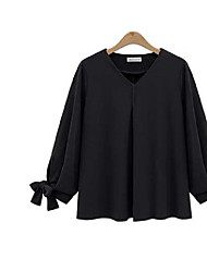 2017 primavera novo estilo europeu de gordura mm fertilizantes para aumentar tamanho mulheres era magro camisa da cor chiffon sólida