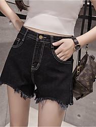 Sign spring and summer high waist denim shorts female Korean student irregular edges washed denim shorts