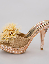 cheap -Women's Shoes PU Summer Slingback Sandals Walking Shoes Stiletto Heel Round Toe Flower for Gold / Black / Silver