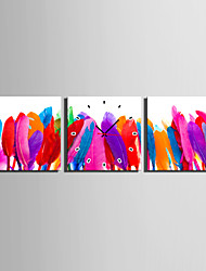 cheap -MINI SIZE E-HOME Colourful Feathers Clock in Canvas 3pcs