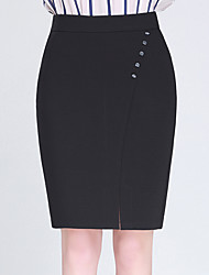Women's Plus Size A Line Solid Split Beaded Skirts,Casual/Daily Work Simple Cute High Rise Knee-length Zipper Polyester Micro-elastic