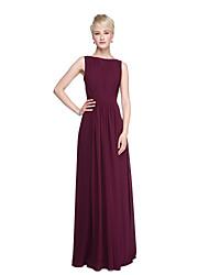 cheap -Sheath / Column Bateau Neck Floor Length Chiffon Bridesmaid Dress with Draping Sash / Ribbon Split Front Criss Cross by LAN TING BRIDE®