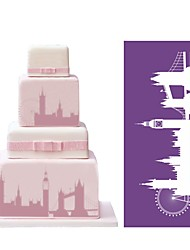 cheap -London Eye Tower Bridge Mesh Stencil for Cake Decorating Sugarcraft Wedding Lace Mould Cake Baking Tools Kitchen Bakeware MST-15