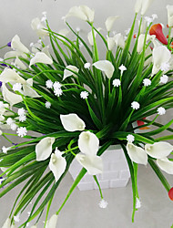 1 Bunch Artificial Mini Lily Silk Flower Simulation Calla Flower Bouquet Fake Grass Aquatic Plants For New Home Room Decoration Washable