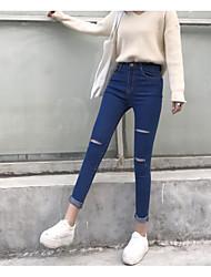Signe de bonne qualité printemps et automne coupe coupe stretch jeans femme taille mince crayon pantalons pantalons pieds
