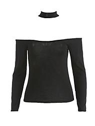 Femme Epaules Dénudées/Foulard Tee-shirt,Couleur Pleine Décontracté/Quotidien Sexy/simple Automne Manches Longues Bateau Beige/Noir/Vert Coton