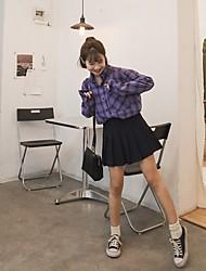 davvero facendo 2017 molla nuovo istituto coreano di vento irregolare allentata camicia a quadri a maniche lunghe ragazza d'oro