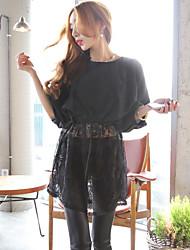 Hanguo Chun cents US new stitching lace dress shirt long paragraph