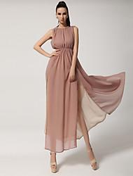 pérola vestido de separação sexy coreano gola de renda chiffon em um único retorno de parágrafo