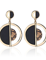 Creative Design Gold Round Half Black Effect Dangle Earrings For Women