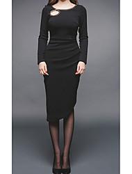 2017 Autumn new Korean version was thin long-sleeved round neck Slim fashion chain decorative thread empty dress