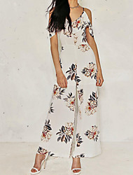 cheap -Women's Daily Going out Casual Sexy Floral V Neck Jumpsuits,Wide Leg Half Sleeves Spring Summer Polyester
