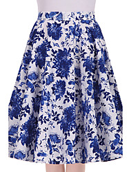 cheap -Women's Daily Going out Knee-length Skirts,Vintage Swing Cotton Floral All Seasons