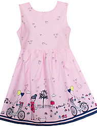 Girls Dress Pink Bicycle Girl Print Cotton Dresses Party Pageant Princess Baby Kids Clothing
