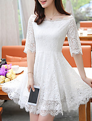 Women's Lace Formal Party Vintage Chinoiserie A Line Dress,Solid Lace Crew Neck Midi Long Sleeve Cotton Polyester Red PurpleAll