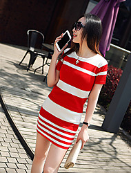 cheap -Women's Daily Wear Classic & Timeless A Line Dress,Stripe Round Neck Above Knee, Mini Short Sleeves N/A Summer Medium Waist Stretchy