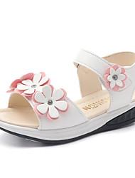Girls' Sandals Flower Girl Shoes Spring Summer PU Wedding Casual Dress Party & Evening Flower Magic Tape Flat Heel White Blushing Pink