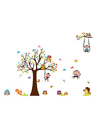 Wall Stickers Wall Decals Style Owl Monkey Tree Party PVC Wall Stickers